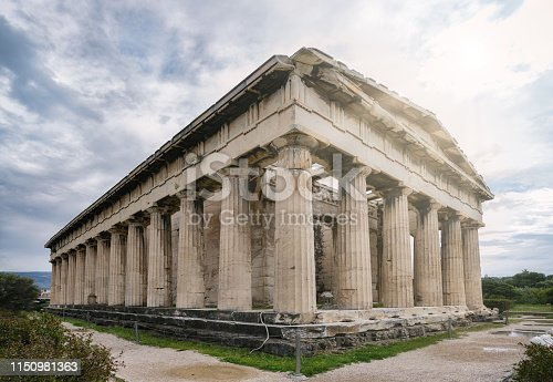 The Temple of Hephaestus or Hephaisteion or earlier as the Theseion , is a well-preserved Greek temple; it remains standing largely as built. It is a Doric peripteral temple, and is located at the north-west side of the Agora of Athens, on top of the Agoraios Kolonos hill.