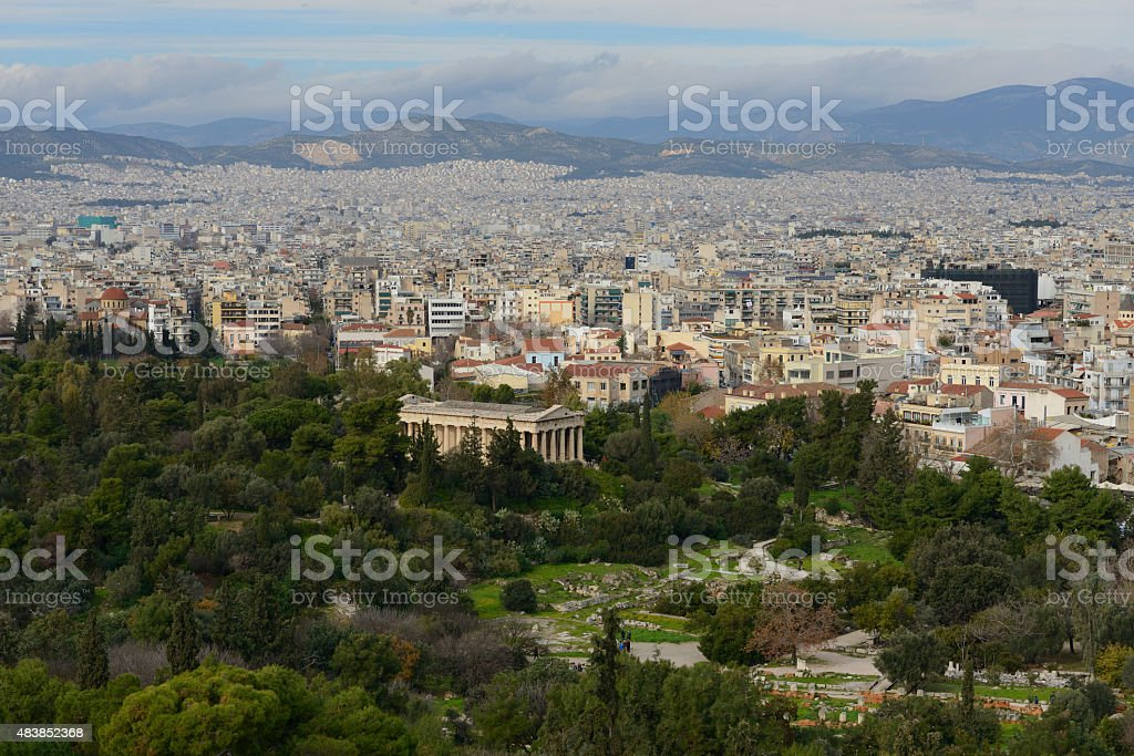Temple of Hephaestus in Ancient Agora stock photo