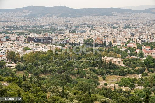 Aerial view of Temple of Hephaestus in Greek Agora and broader city of Athens taken from the Acropolis