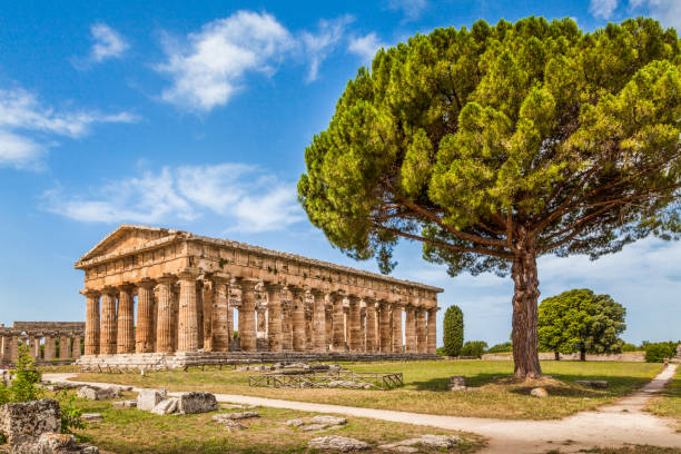Temple of Hera at famous Paestum Archaeological UNESCO World Heritage Site, which contains some of the most well-preserved ancient Greek temples in the world, Province of Salerno, Campania, Italy stock photo