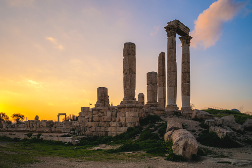 Temple of Hercules located on Amman Citadel in Amman, Jordan
