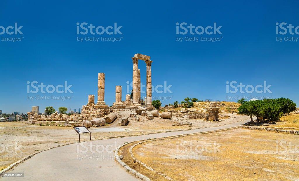 Temple of Hercules at the Amman Citadel, Jabal al-Qal stock photo