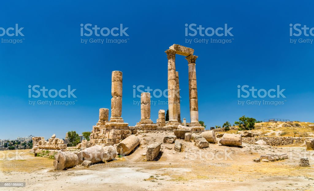 Temple of Hercules at the Amman Citadel, Jabal al-Qal'a stock photo
