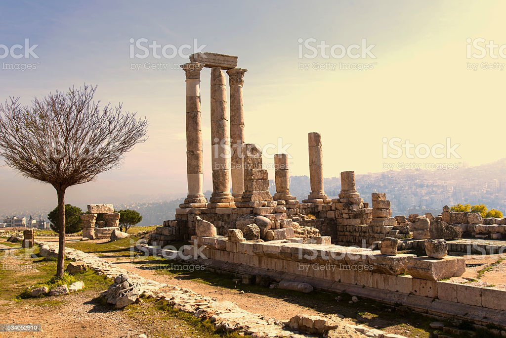 Temple of Hercules in the citadel of Aman stock photo