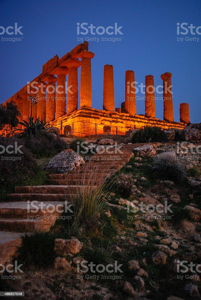 Tempio di Giunone a notte - foto stock