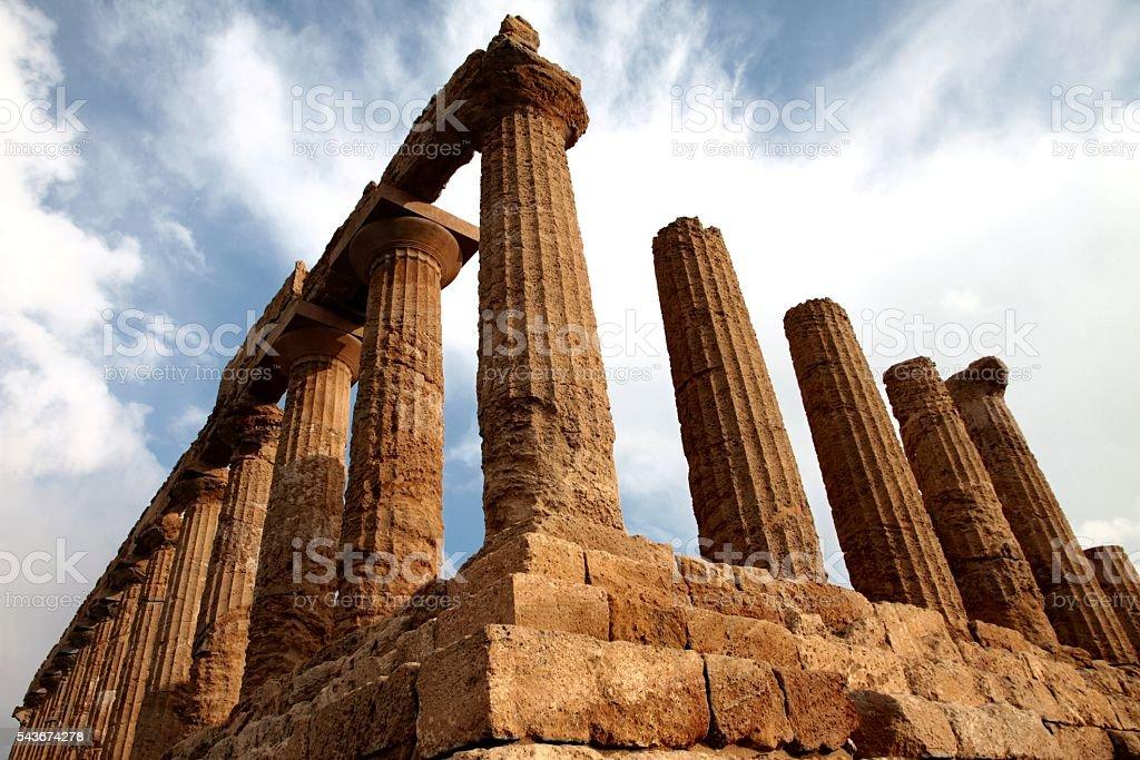 Tempio di Giunone antichi greci dorici Agrigento Sicilia, Italia Archeologia - foto stock