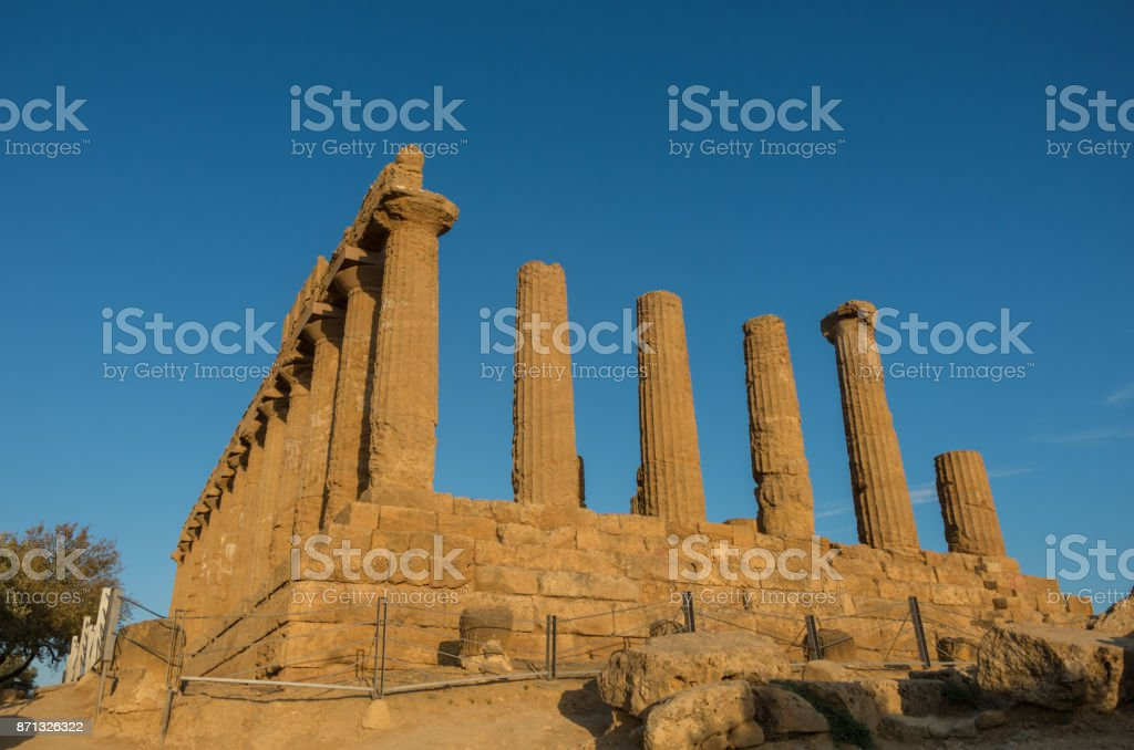 Temple of Juno located in the park of the Valley of the Temples in Agrigento, Sicily, Italy stock photo