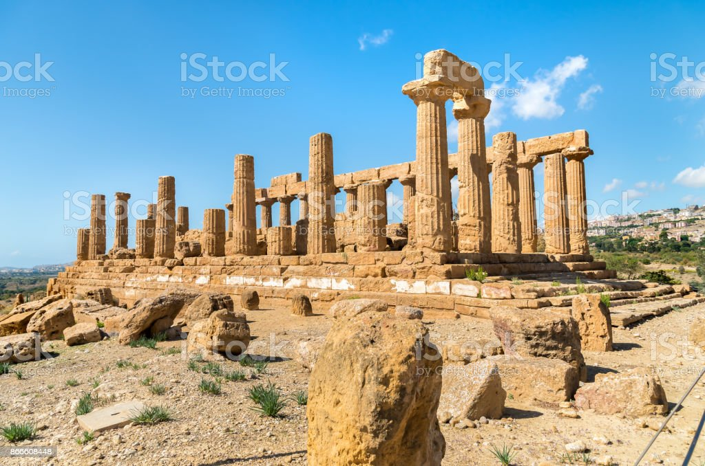 Temple of Juno located in the park of the Valley of the Temples stock photo