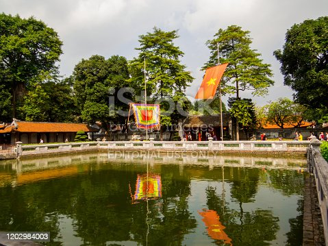 Hanoi, Vietnam - December 19, 2019: View of the Thien Quang pool (Heavenly Clarity) in the Temple of Literature (Vietnamese: Van Mieu).