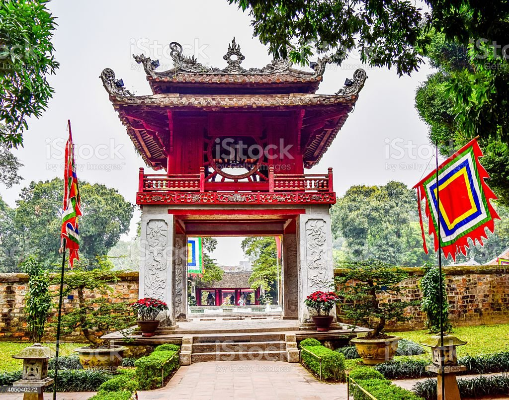 Temple of Literature Honoring Confucius, Hanoi, Vietnam stock photo