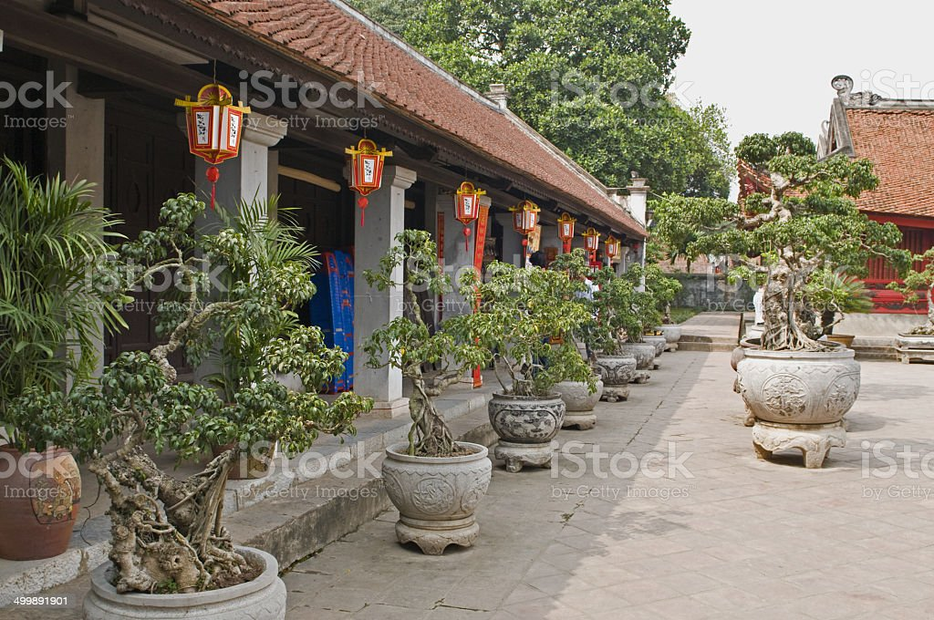 Temple of Literature in Hanoi stock photo
