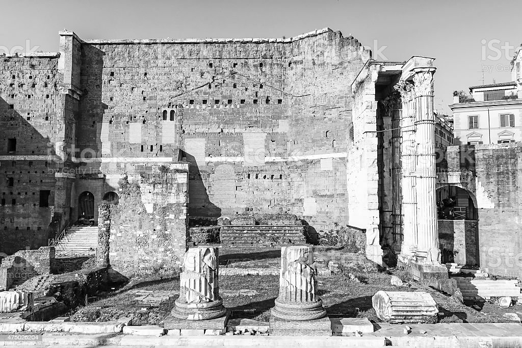 Temple of Mars Ultor from Augustus Forum stock photo