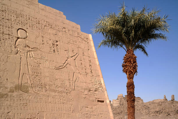 Temple of Medinet Habu, Egypt Temple of Medinet Habu, Egypt Tomb Of Ramses III stock pictures, royalty-free photos & images