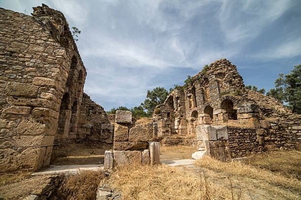 Temple of Nysa Ancient City in Aydin, Turkey stock photo