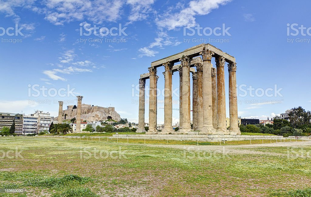 Temple of Olympian Zeus, Acropolis in background, Athens, Greece stock photo