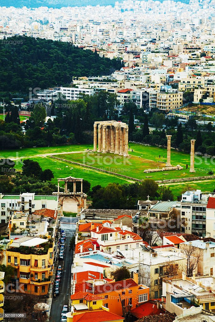 Temple of Olympian Zeus aerial view in Athens stock photo