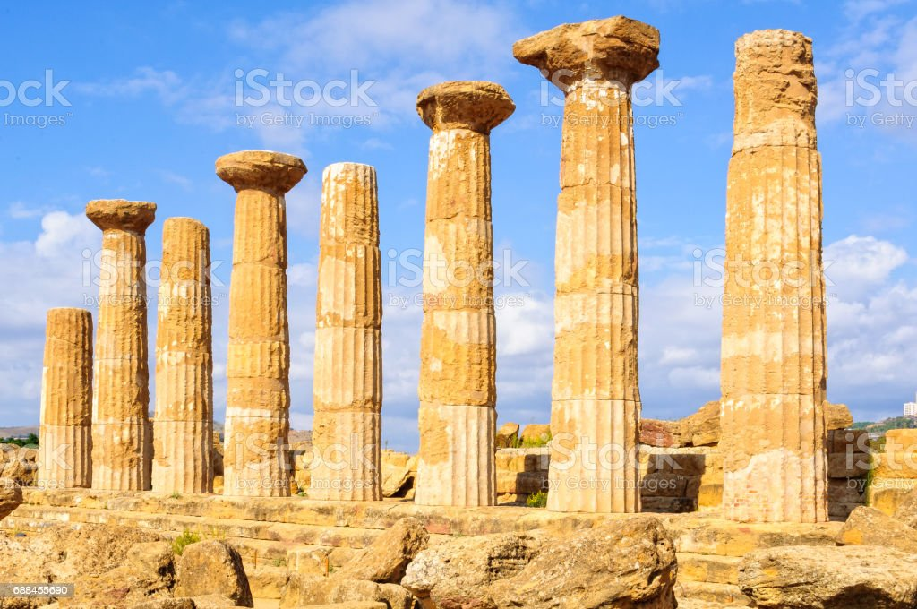Temple of Olympian Zeus - Agrigento stock photo