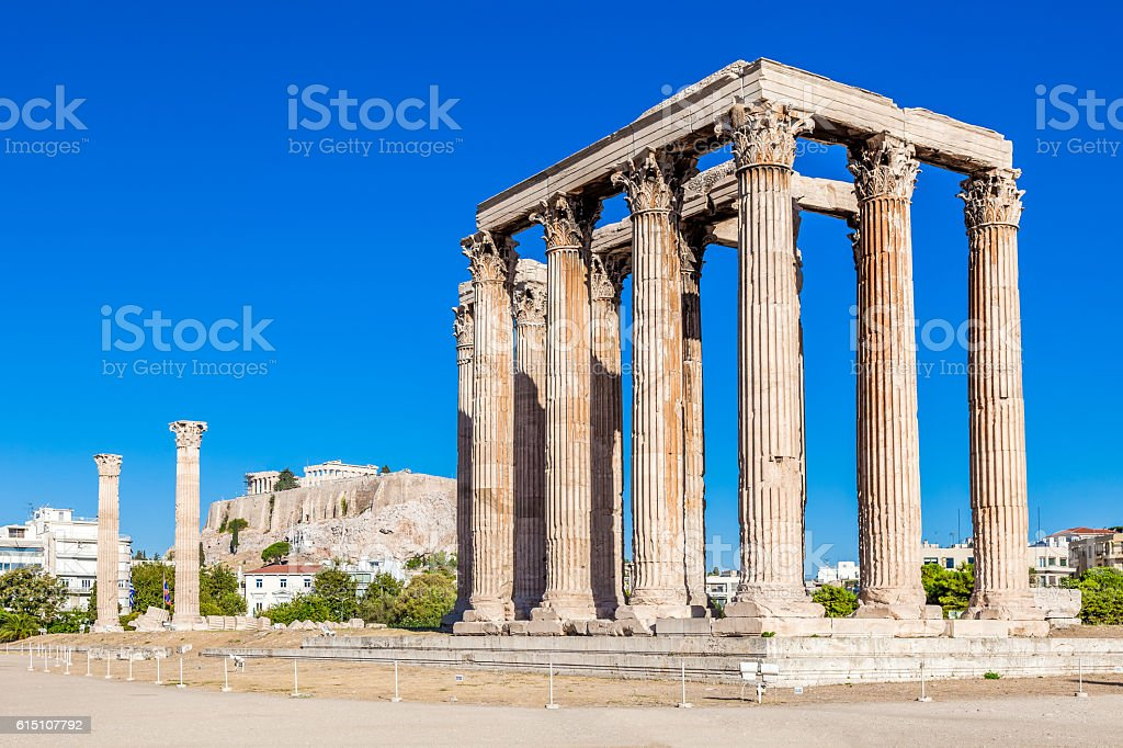 Temple of Olympian Zeus and Acropolis Hill, Athens, Greece stock photo