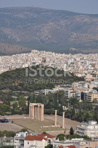 Aerial view of the Temple of Olympus Zeus as seen from the Acropolis, in Athens
