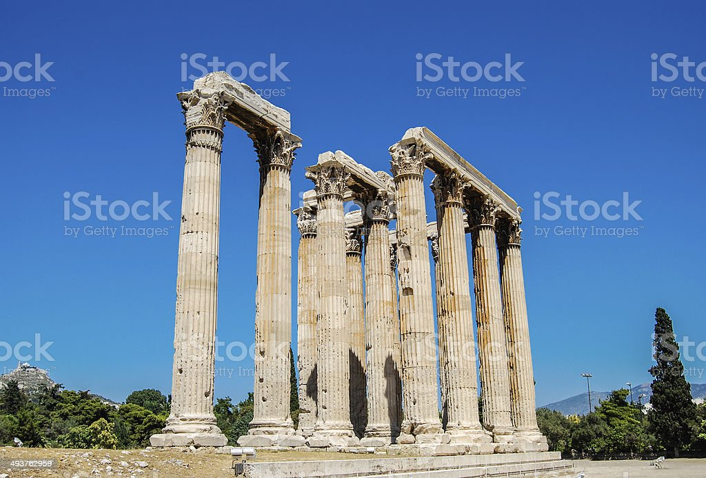 Temple of Olympian Zeus, Athens stock photo