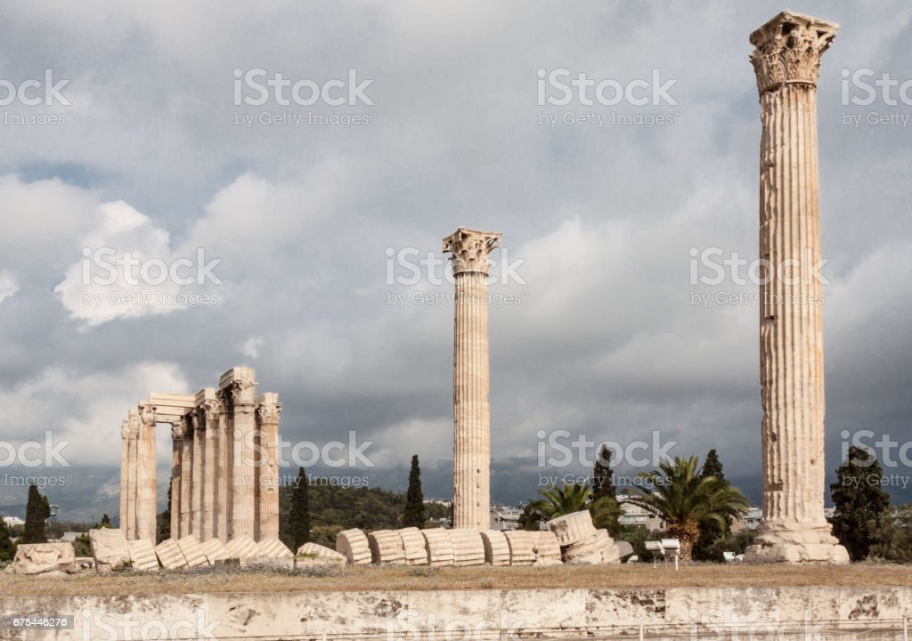 Temple of Olympian Zeus Athens stock photo