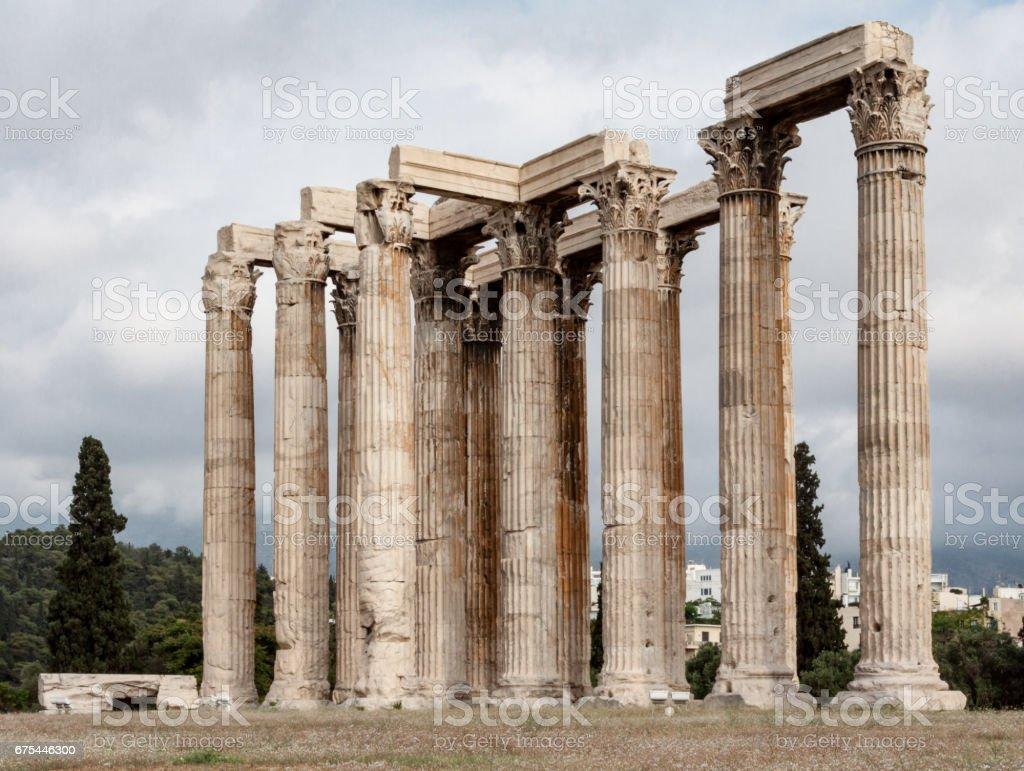 Temple of Olympian Zeus Athens stock photo
