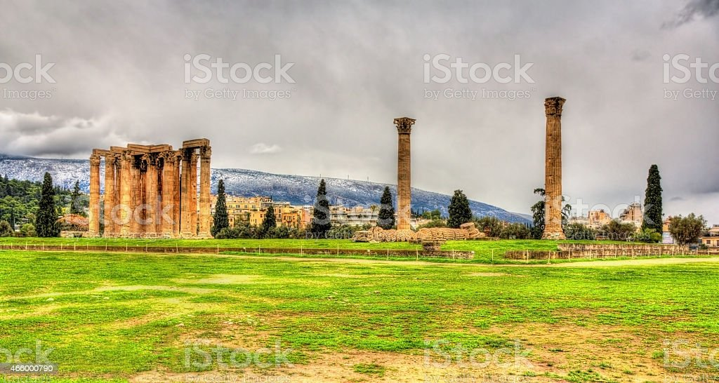 Temple of Olympian Zeus in Athens - Greece stock photo