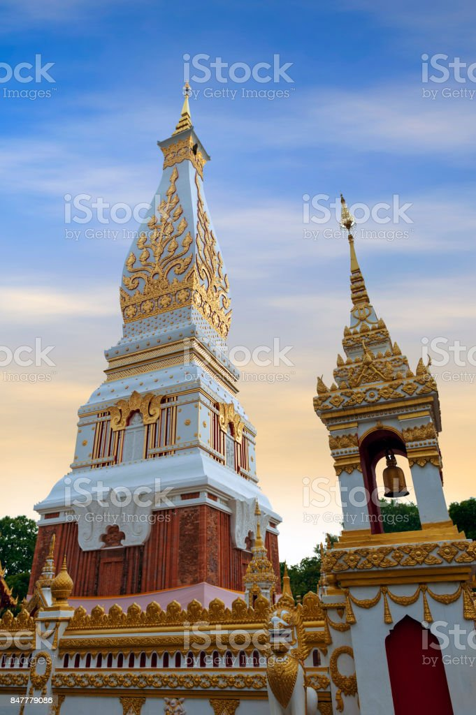Temple of Phra That Phanom Stupa containing Buddha's breast bone, one of the most important Theravada Buddhist structures in the region, located in in Nakhon Phanom Province, northeastern Thailand stock photo