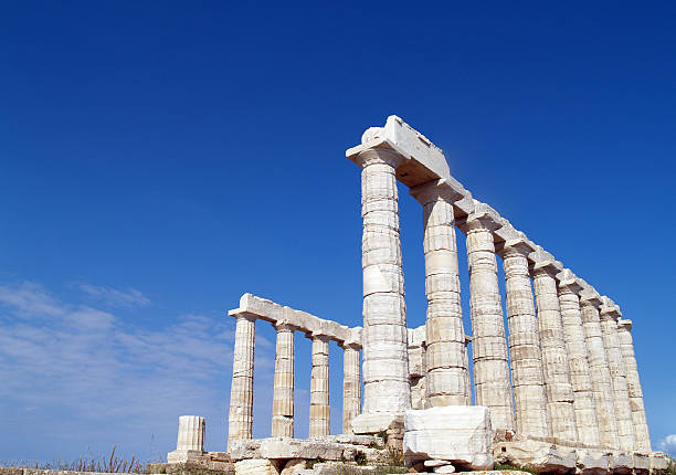 Temple of Poseidon at Cape Sounion near Athens stock photo