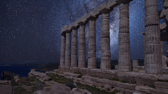 Temple of Poseidon at Sounio with the galaxy showing on the night sky