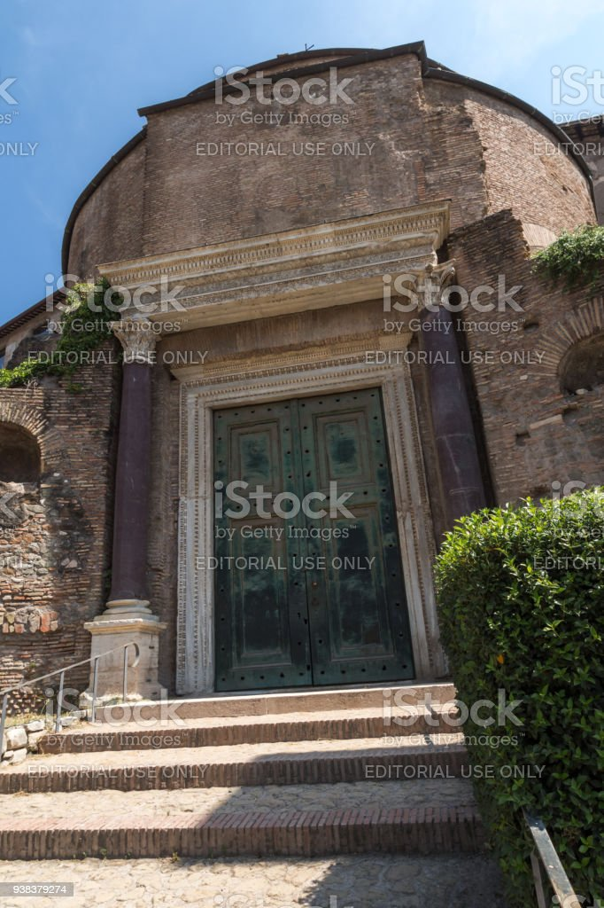 Temple Of Romulus in Roman Forum in city of Rome, Italy stock photo
