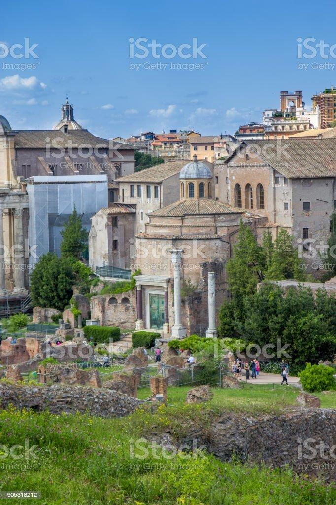 Temple of Romulus in the Forum Romanum, Rome, Italy stock photo