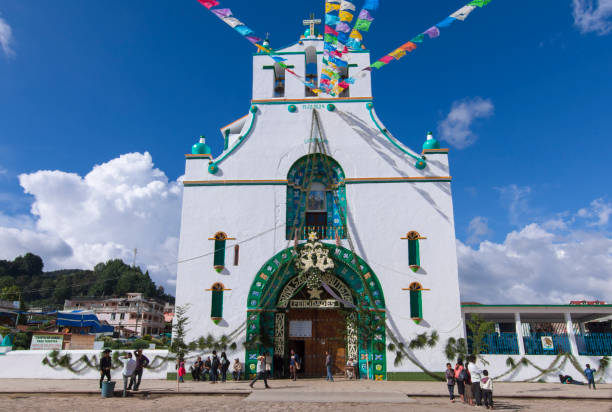 Temple of San Juan Chamula durning the festival of Saint John th stock photo