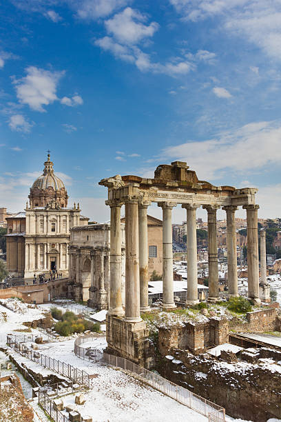 Temple of Saturn and other monuments, Roman Forum. stock photo