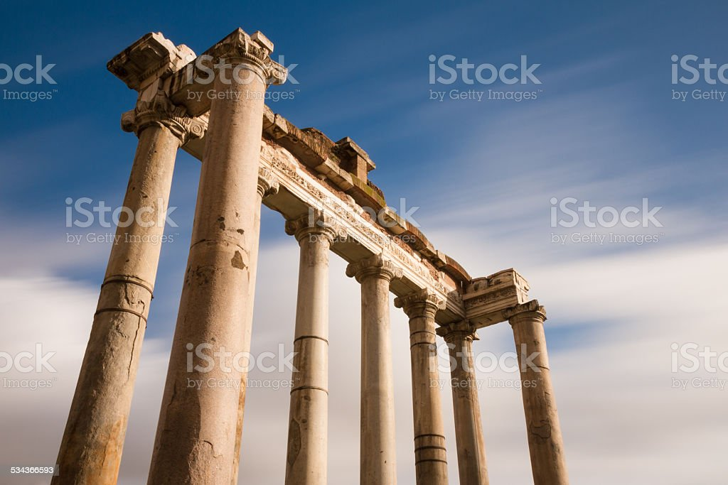 Temple of Saturn at the Forum Romanum stock photo