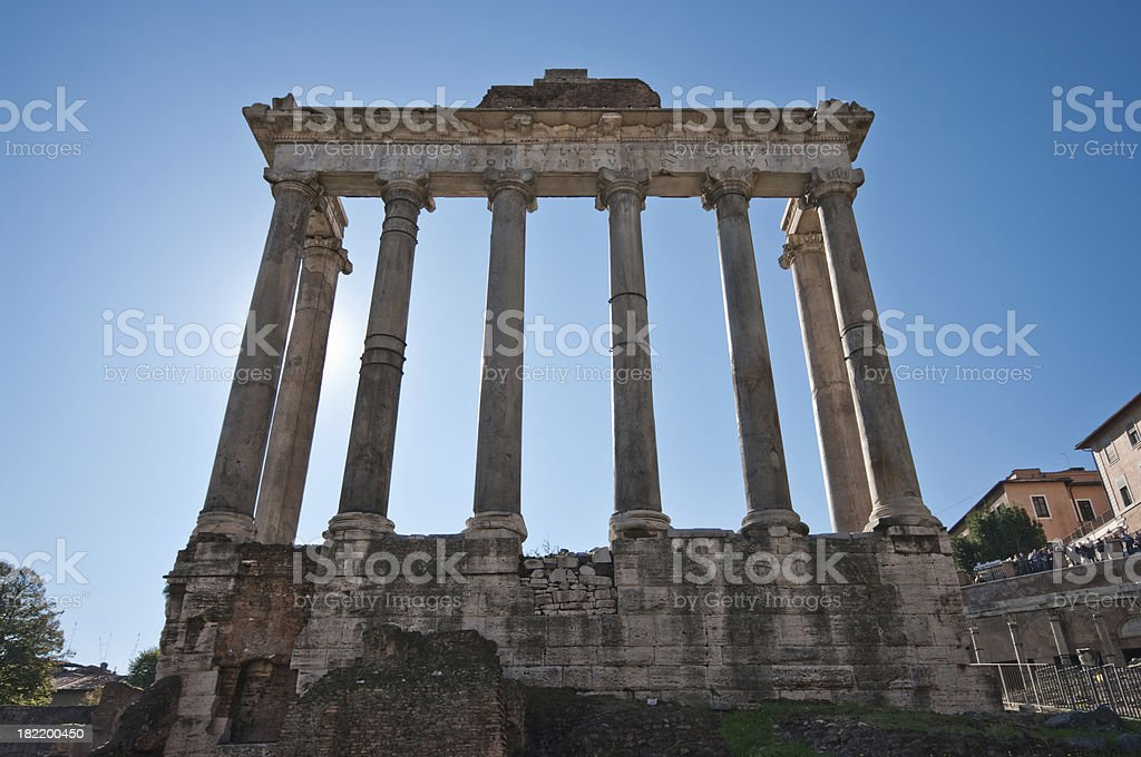 Temple of Saturn in Roman Forum royalty-free stock photo