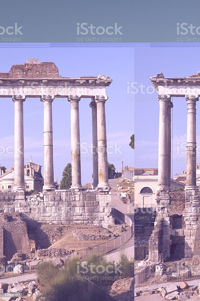 Temple of Saturn on the Roman Forum royalty-free stock photo