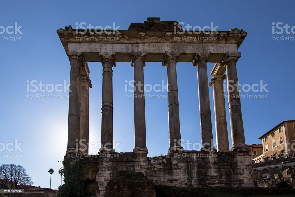 Temple of Saturn, Roman Forum in Rome, Italy stock photo