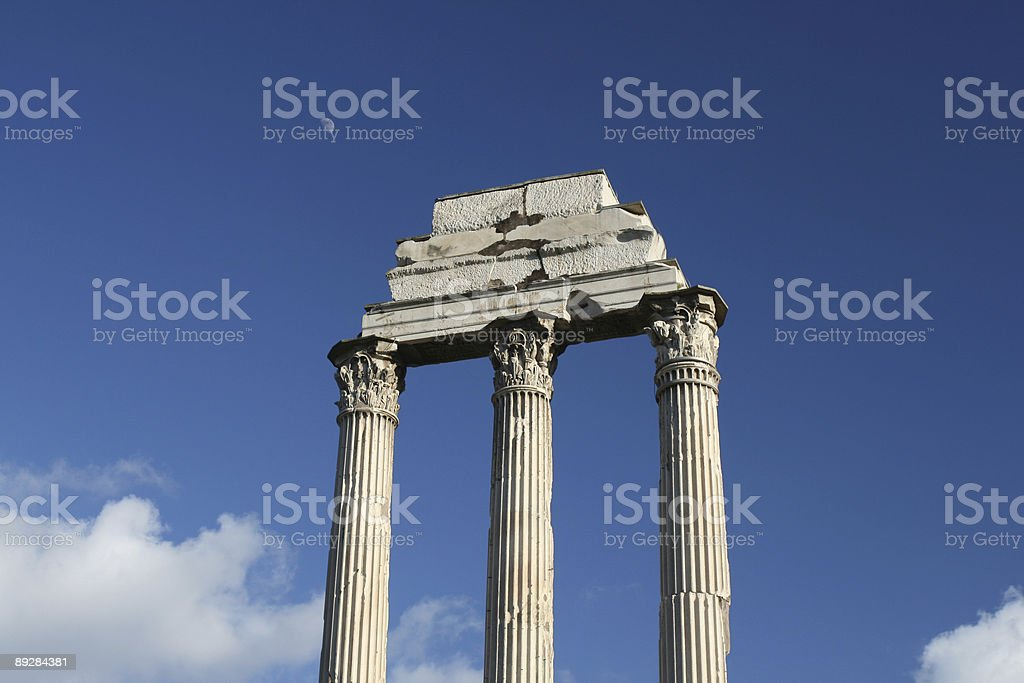 Temple of the Castores at Forum Romanum royalty-free stock photo