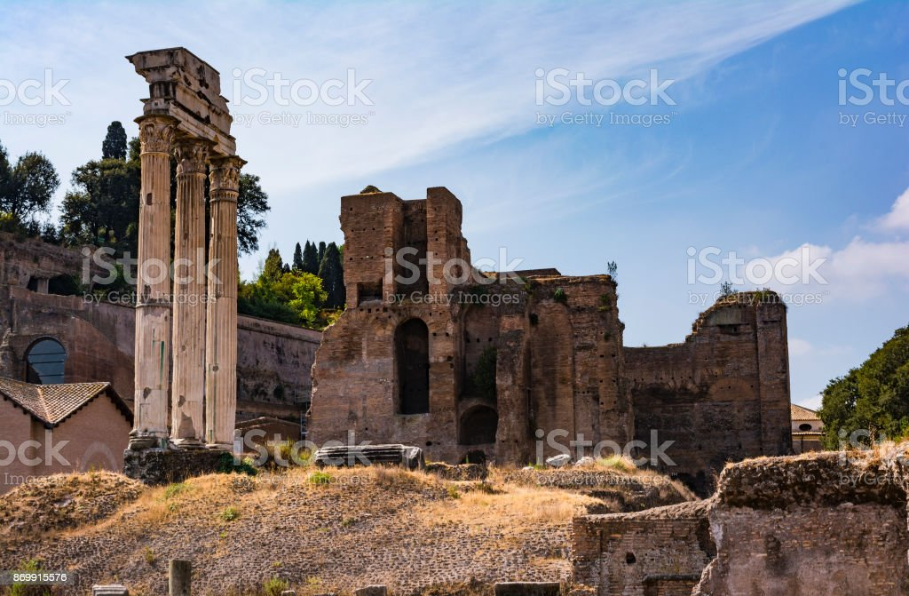 Temple of the Dioscuri - Temple of Castor and Pollux - in the Roman Forum, Rome, Italy. stock photo