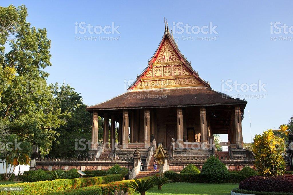 Temple of the Emerald Buddha Laos stock photo