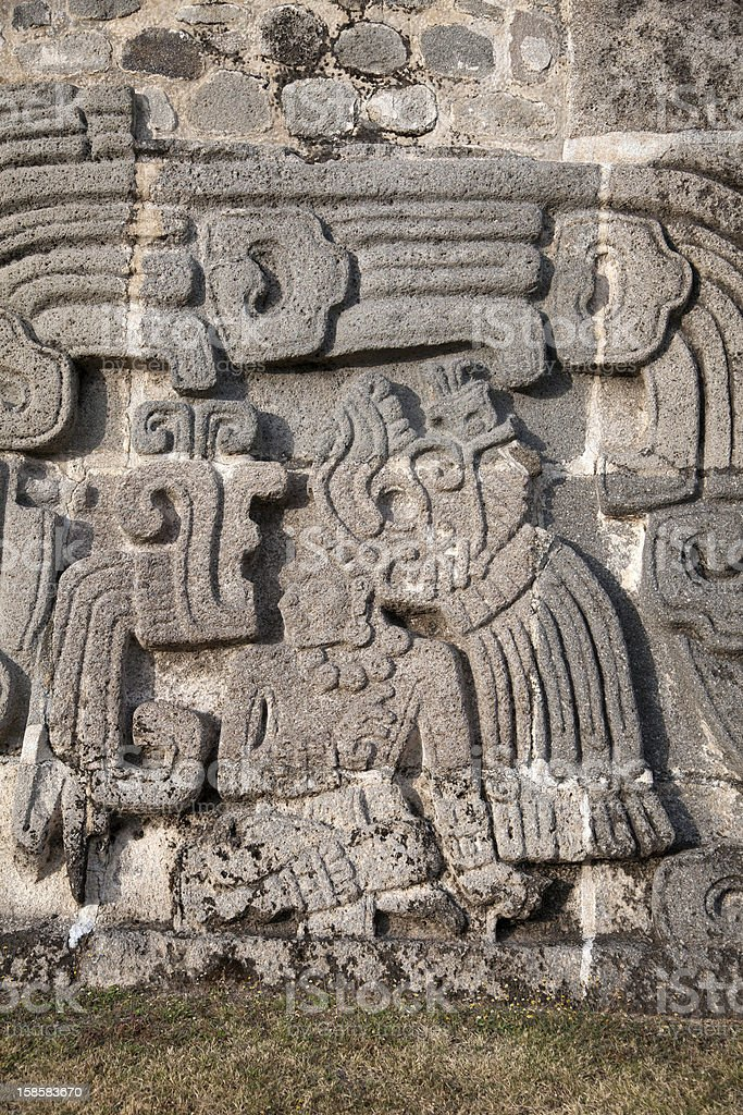 Temple of the Feathered Serpent in Xochicalco stock photo
