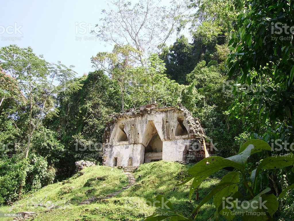 Temple of the Foliated Cross in Palenque, Chiapas, Mexico stock photo