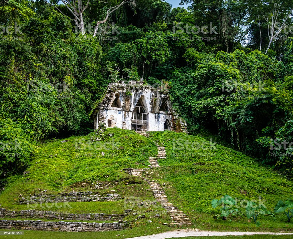 Temple of the Foliated Cross - Palenque, Chiapas, Mexico stock photo