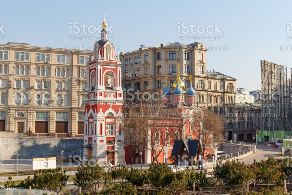 Temple of the Great Martyr St. George the Victorious of the Intercession of the Virgin on the Varvarka street in Moscow stock photo