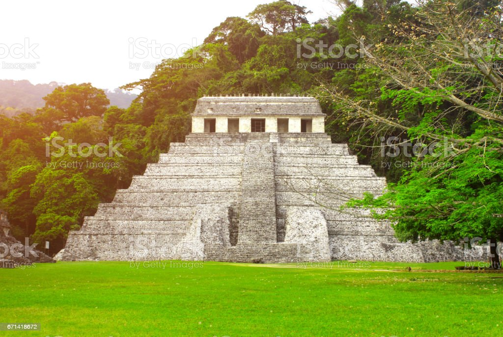 Temple of the Inscriptions, Palenque, Chiapas, Mexico stock photo