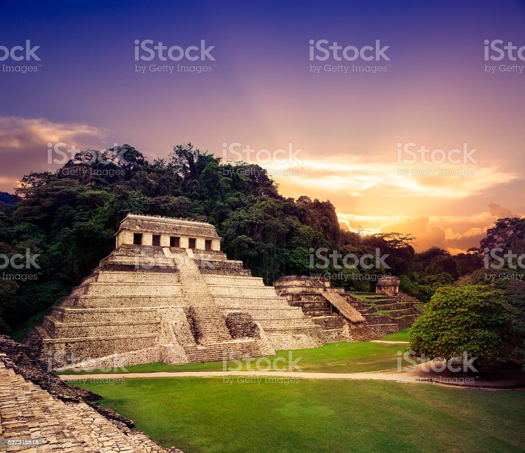 'Temple of the Inscriptions', Palenque, Maya city in Chiapas, stock photo