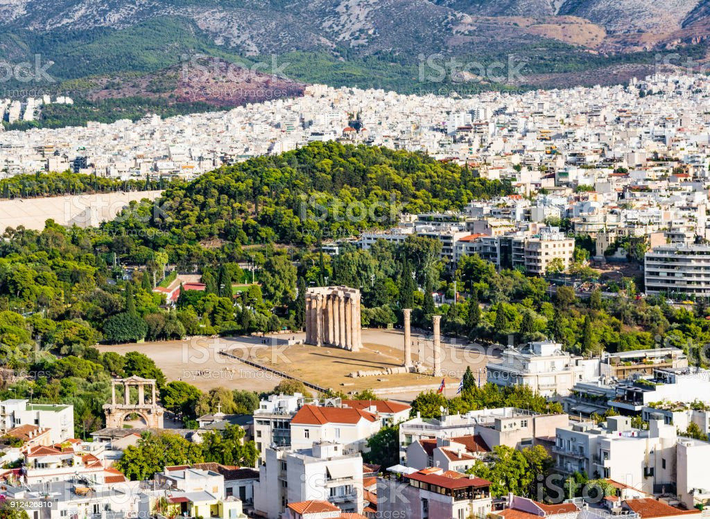 Temple of the Olympian Zeus at Athens, Greece - view from Acropolis stock photo