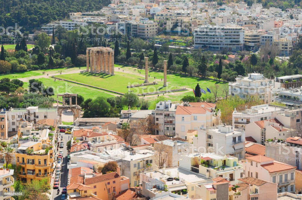 Temple of the Olympian Zeus at Athens stock photo
