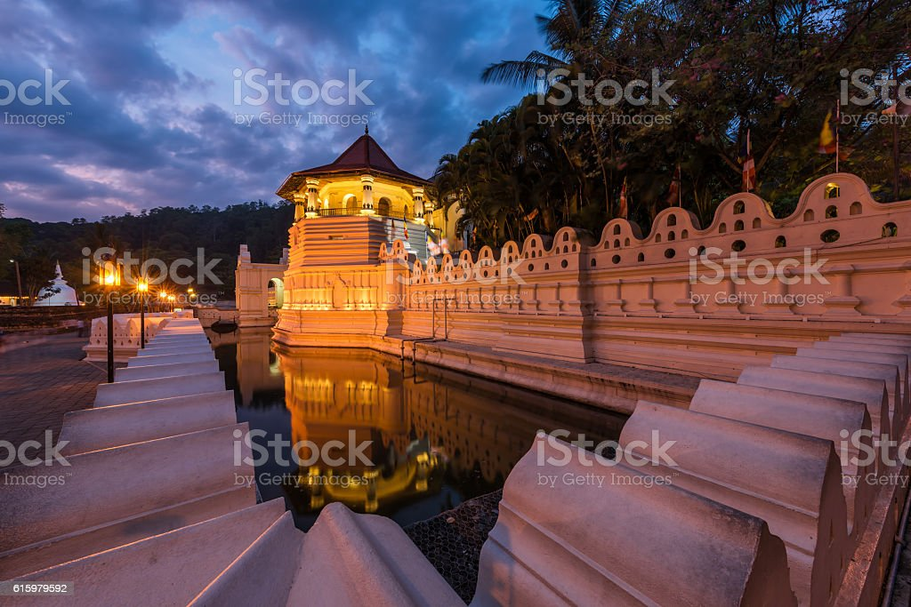 Temple of the Sacred Tooth Relic at Kandy, Sri Lanka stock photo